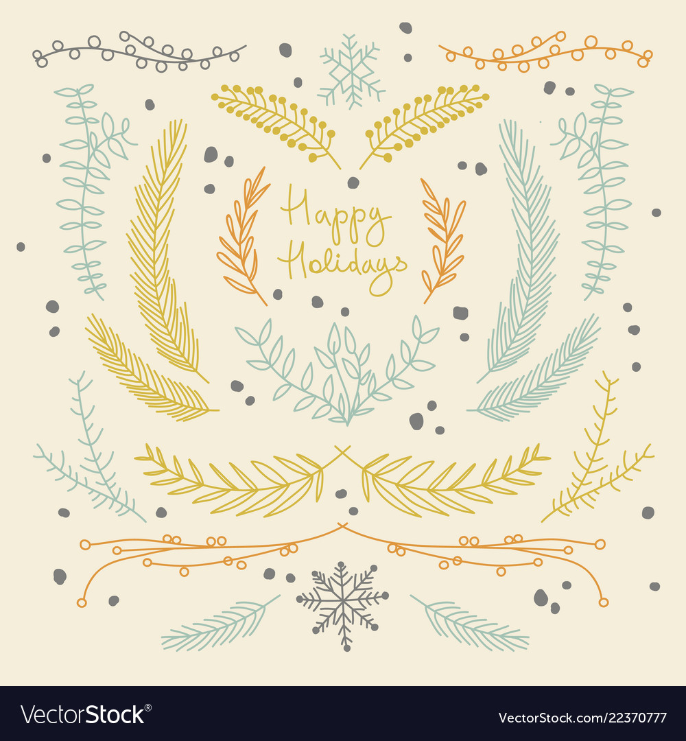 Hand drawn floral new year background