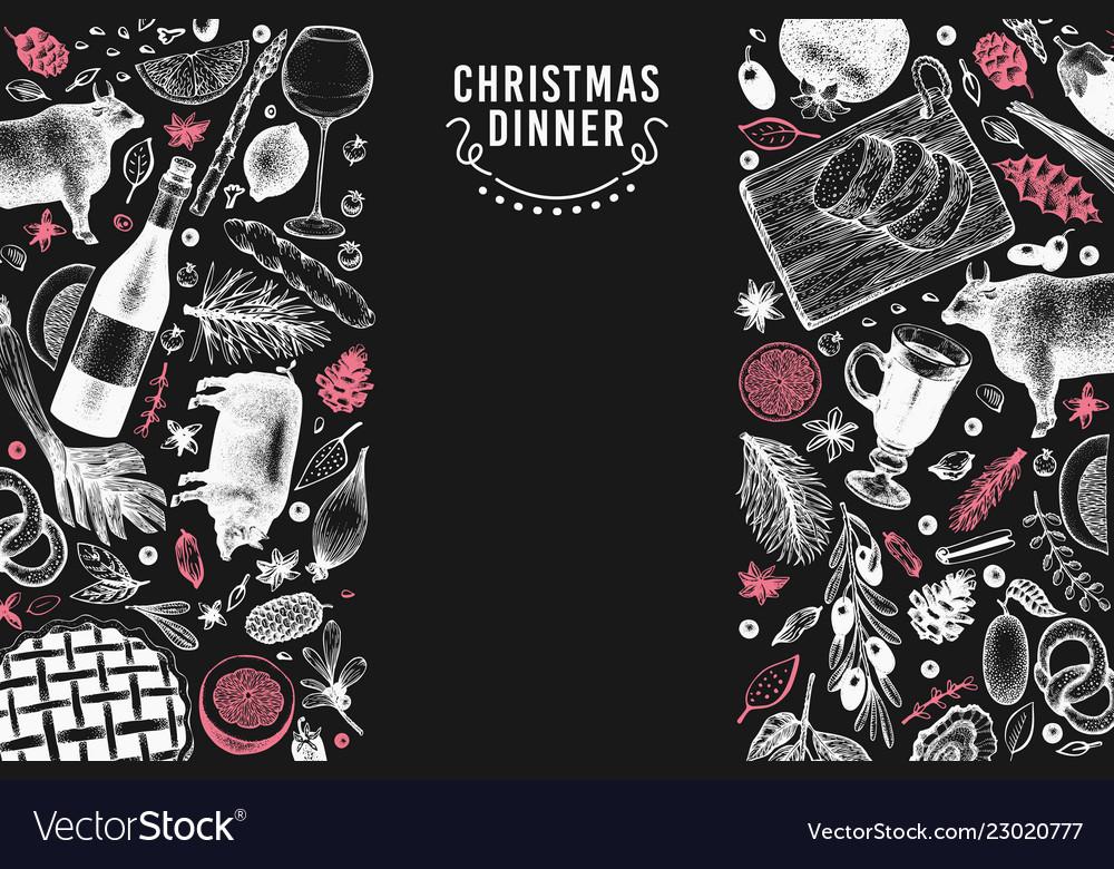 Happy christmas dinner design template
