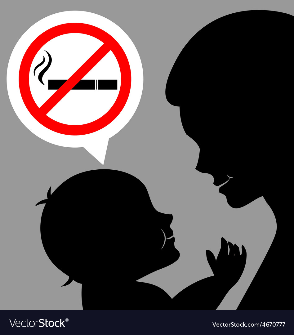 Mom and baby with a prohibiting smoking sign