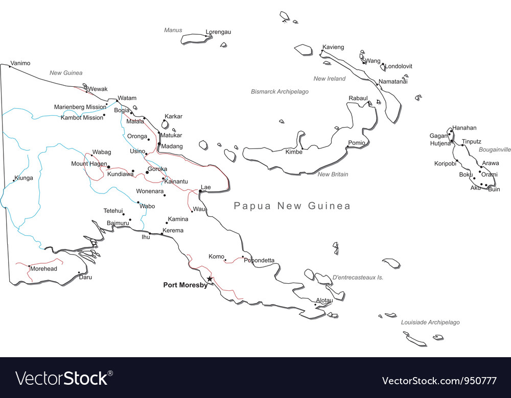 Papua New Guinea Black White Map Royalty Free Vector Image