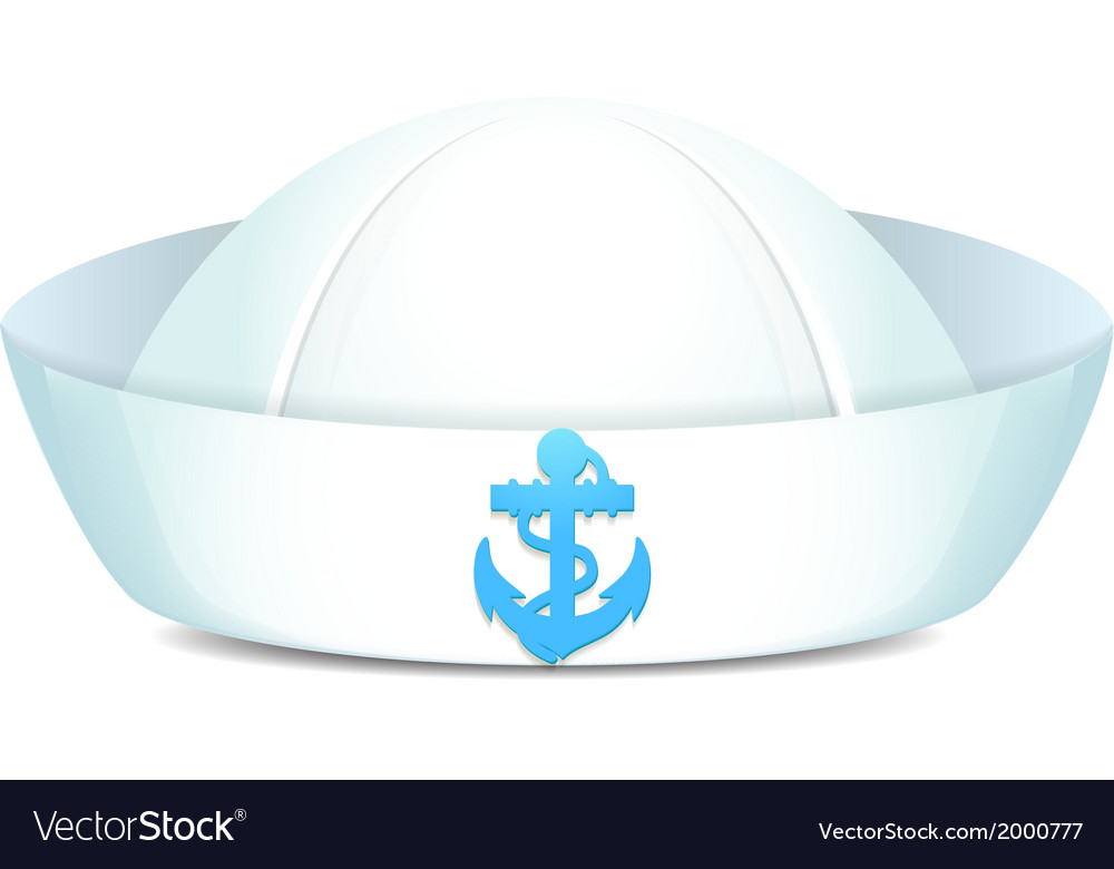 Peaked sailor hat with blue anchor vector image