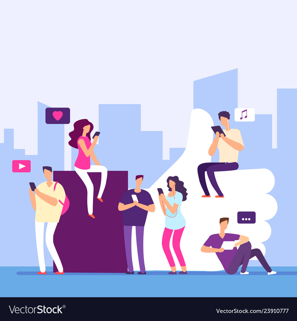 People and social media internet marketing likes