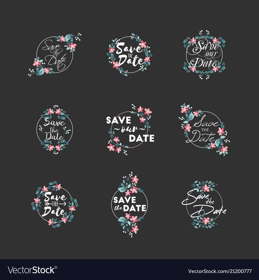 Save date wedding invitation floral elements
