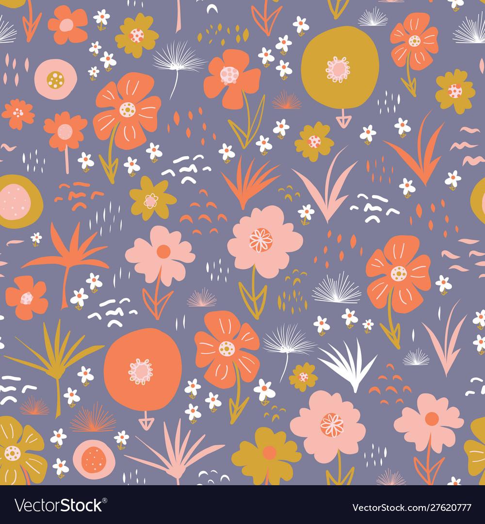 Seamless pattern with flat stylized