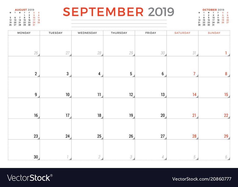 Calendar Planner September 2019.September 2019 Calendar Planner Stationery Design
