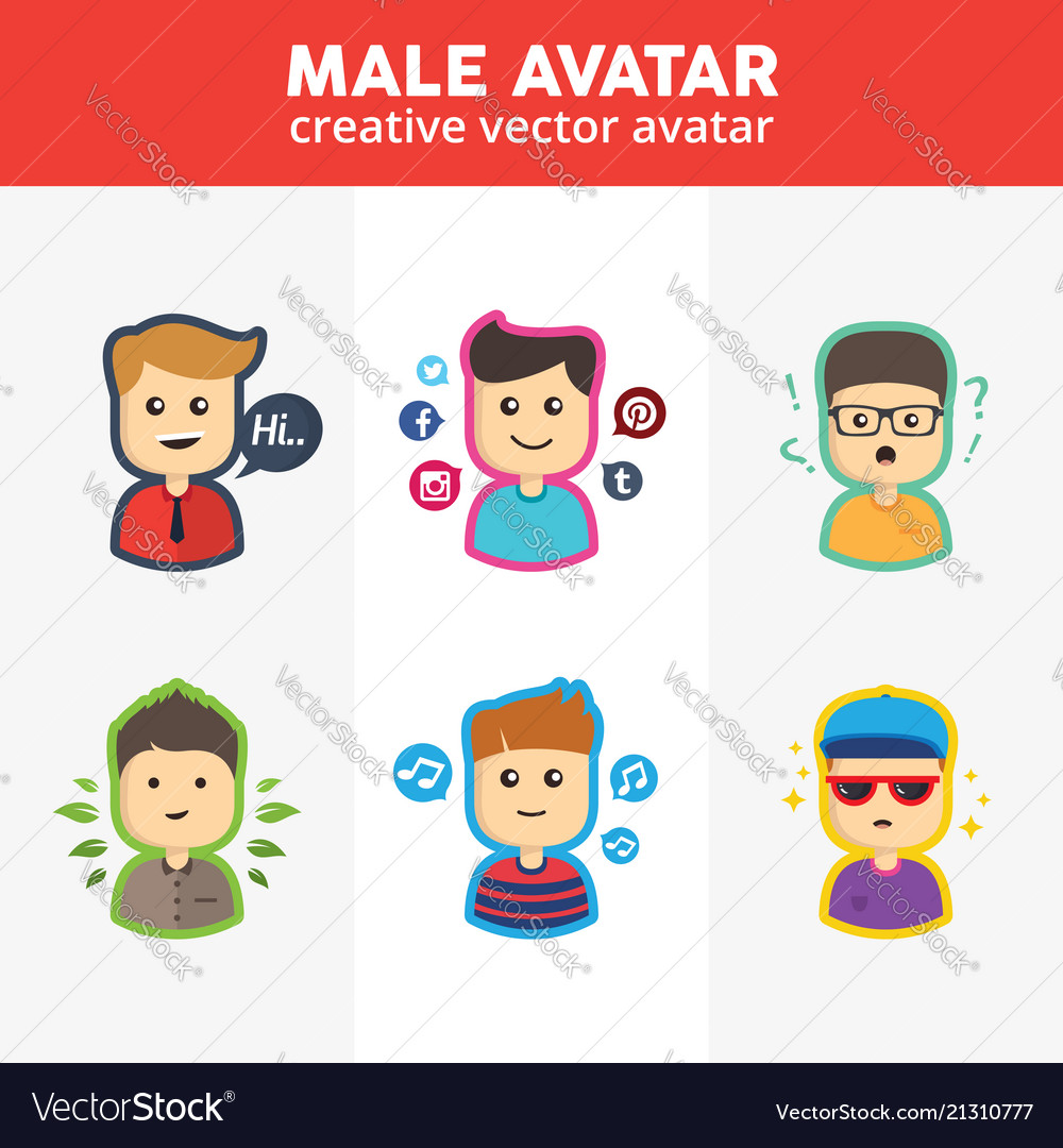 Set of creative male avatars