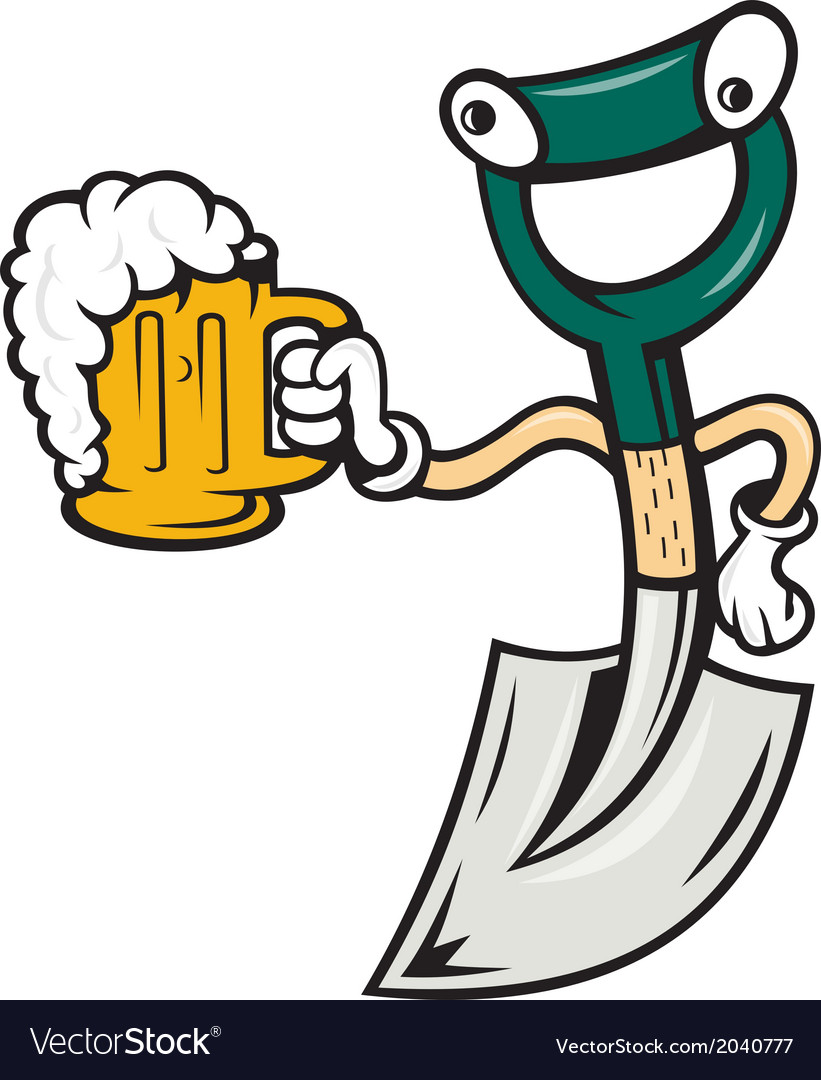 Shovel Holding Beer Mug Cartoon vector image