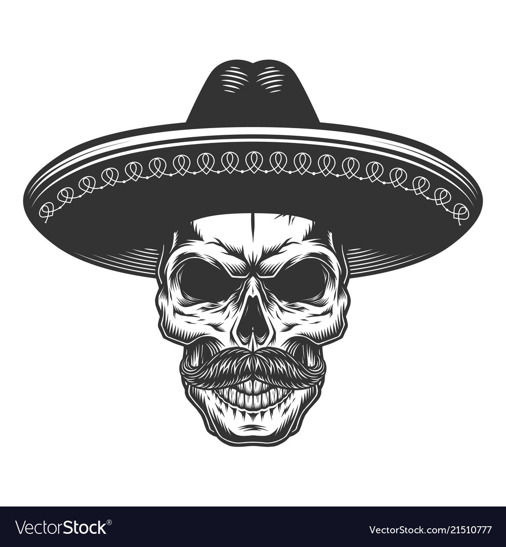 d799dbde7f461 Skull in the mexican sombrero Royalty Free Vector Image