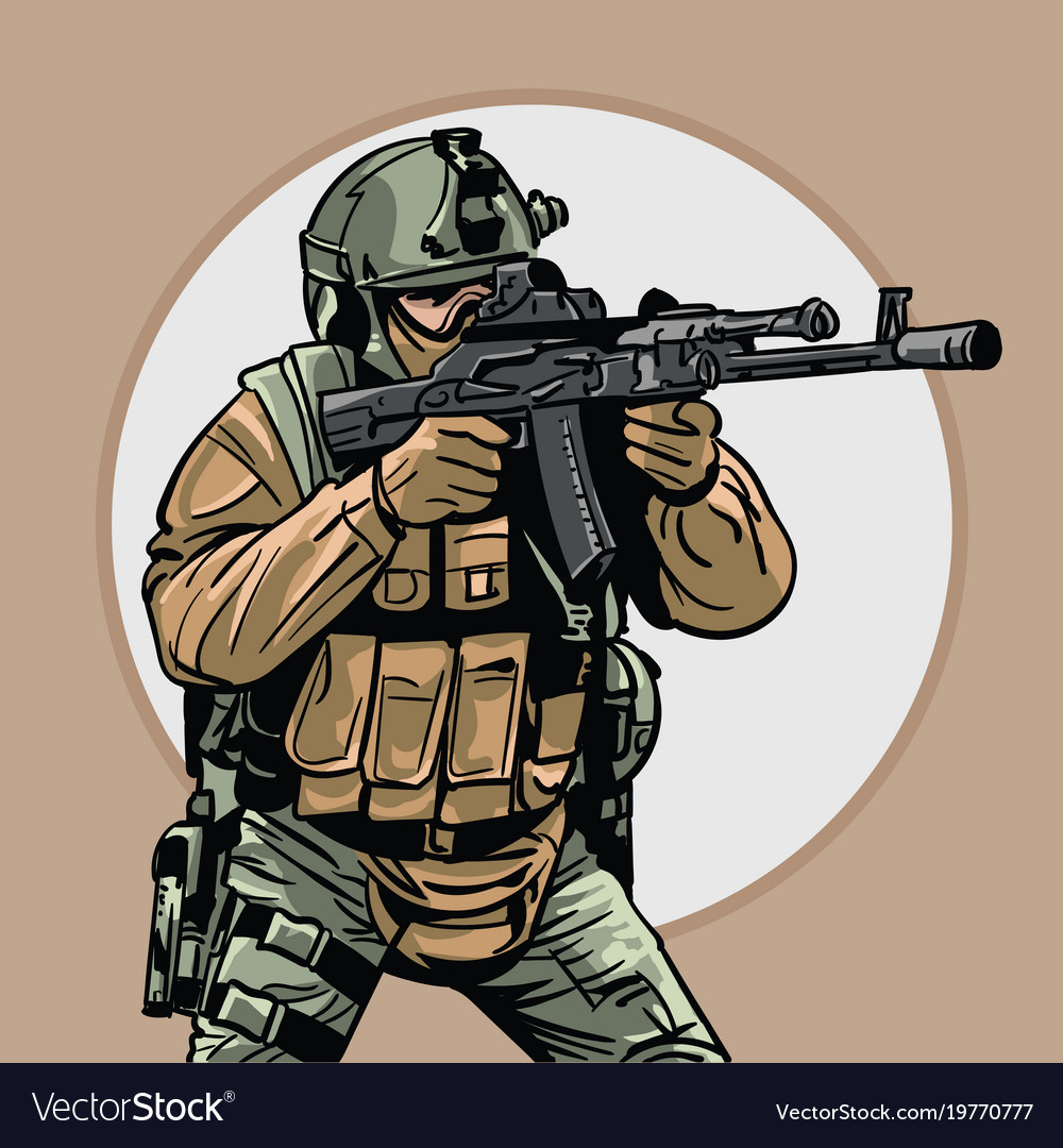 Soldier with gun warrior special forces