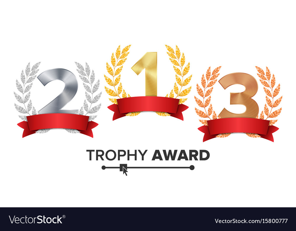 Trophy award set figures 1 2 3 one two