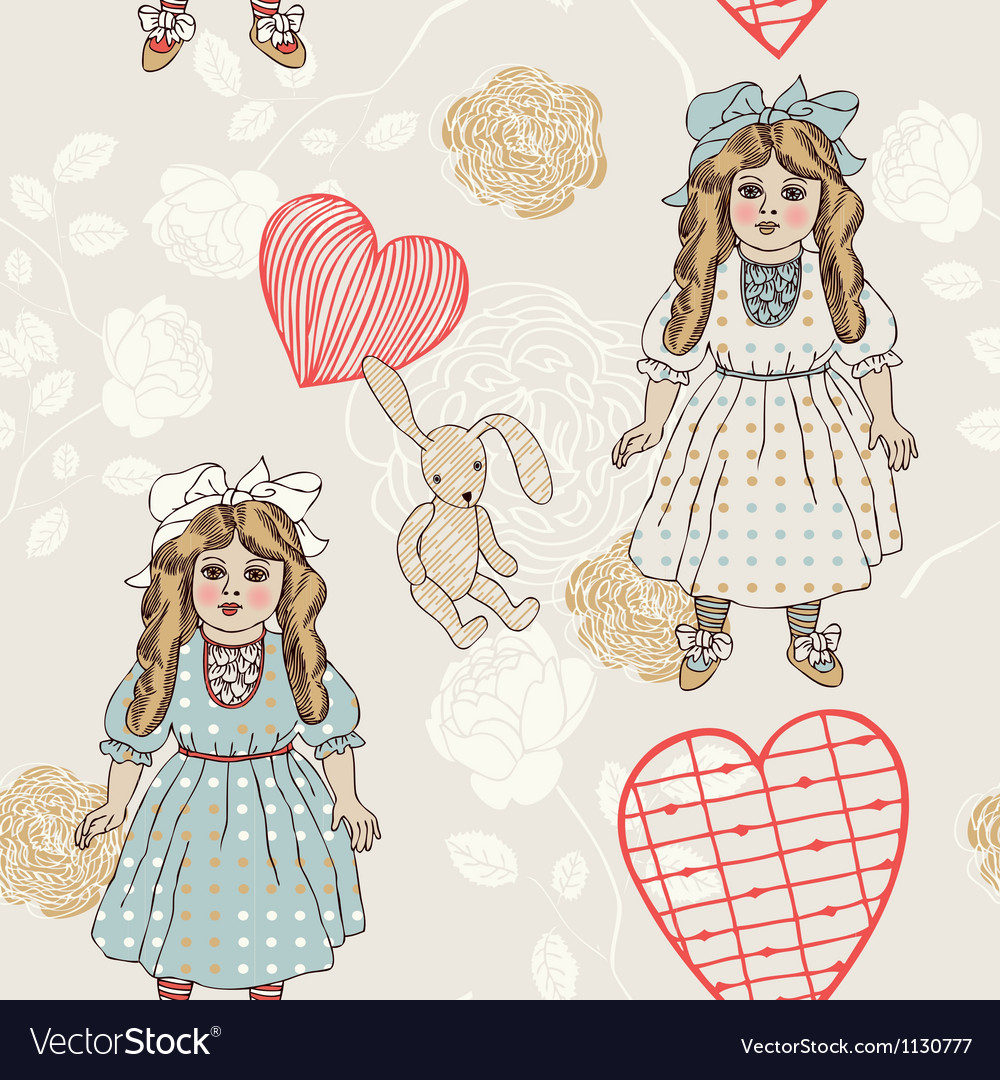 Vintage backgrounds with vintage toys vector image