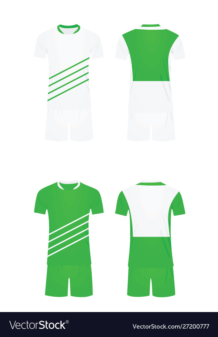 White and green soccer shirt and shorts