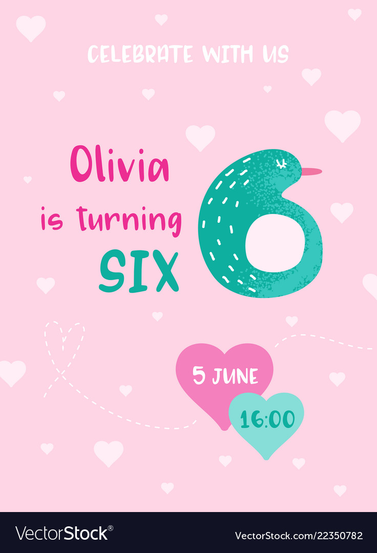 Birthday baby cute card with pinguin number six