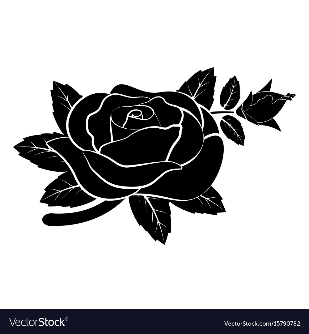 Black silhouette rose