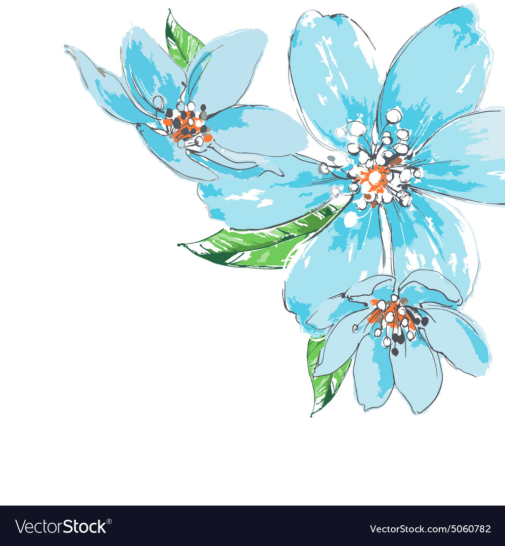 Blue Flowers Background Watercolor Corner Ornament