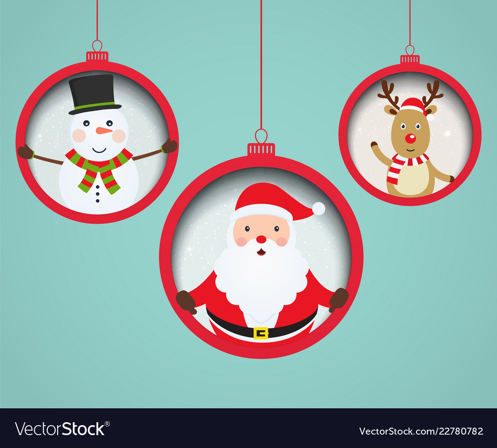 Christmas balls with santa claus snowman and deer