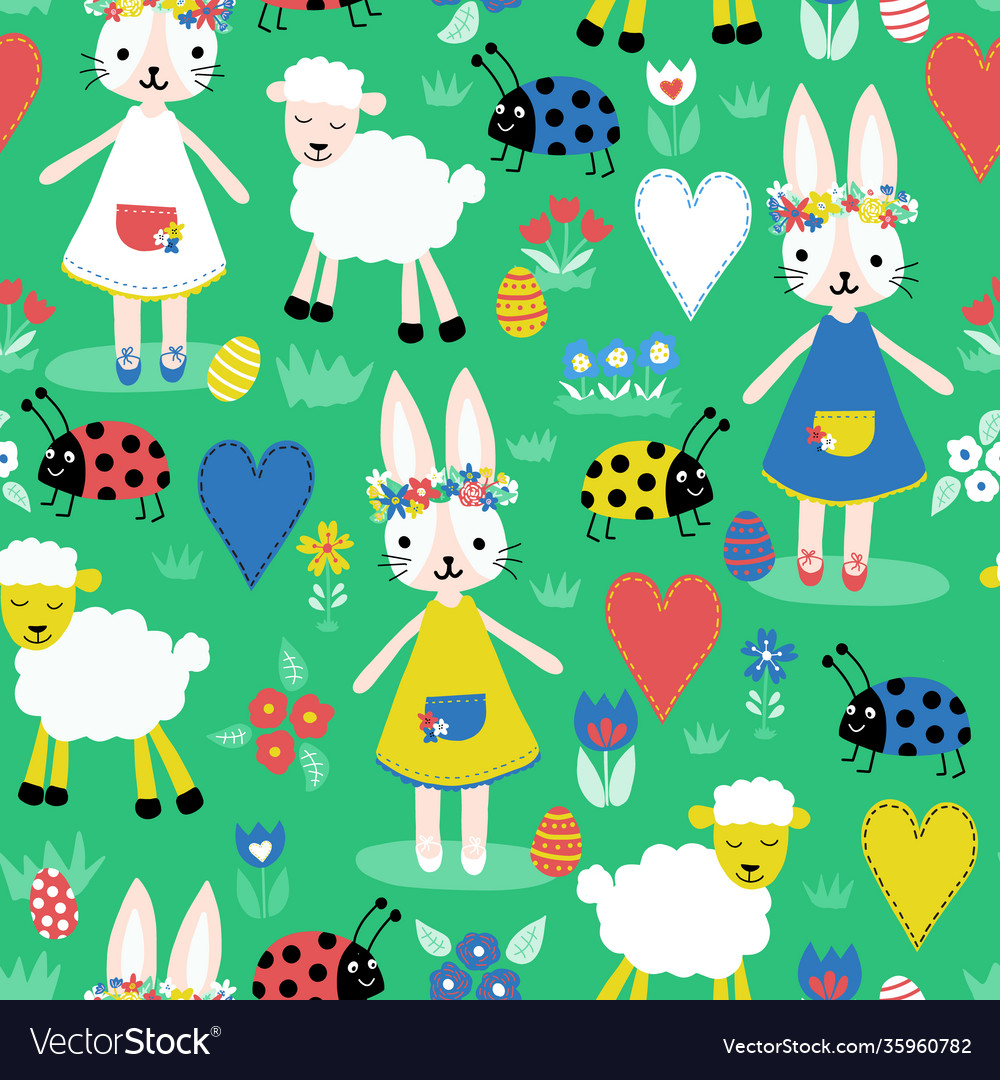 Cute easter pattern with bunnies sheep ladybugs
