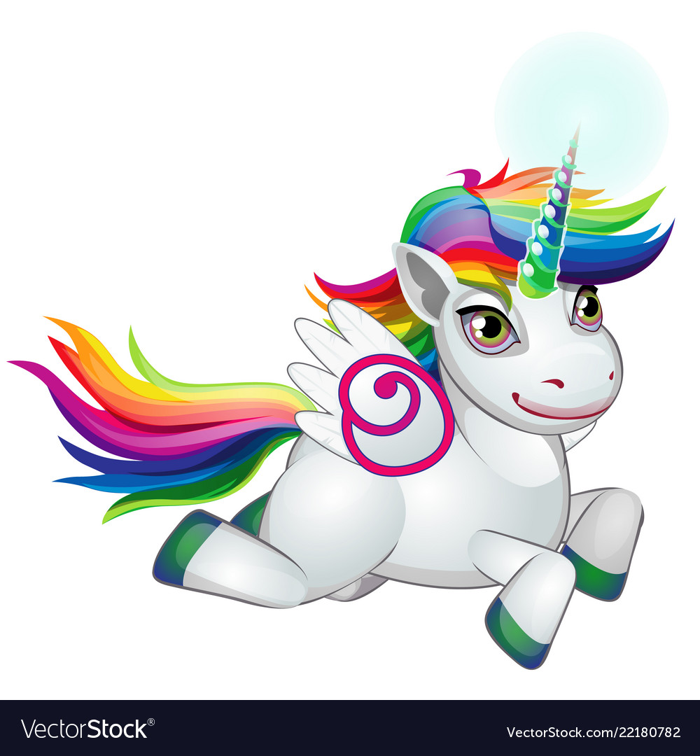 Cute unicorn pony with mane colors of the rainbow