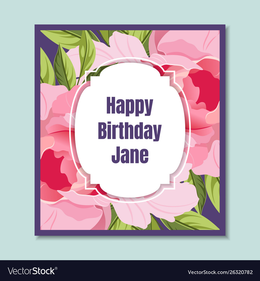 Happy birthday holiday card template with elegant