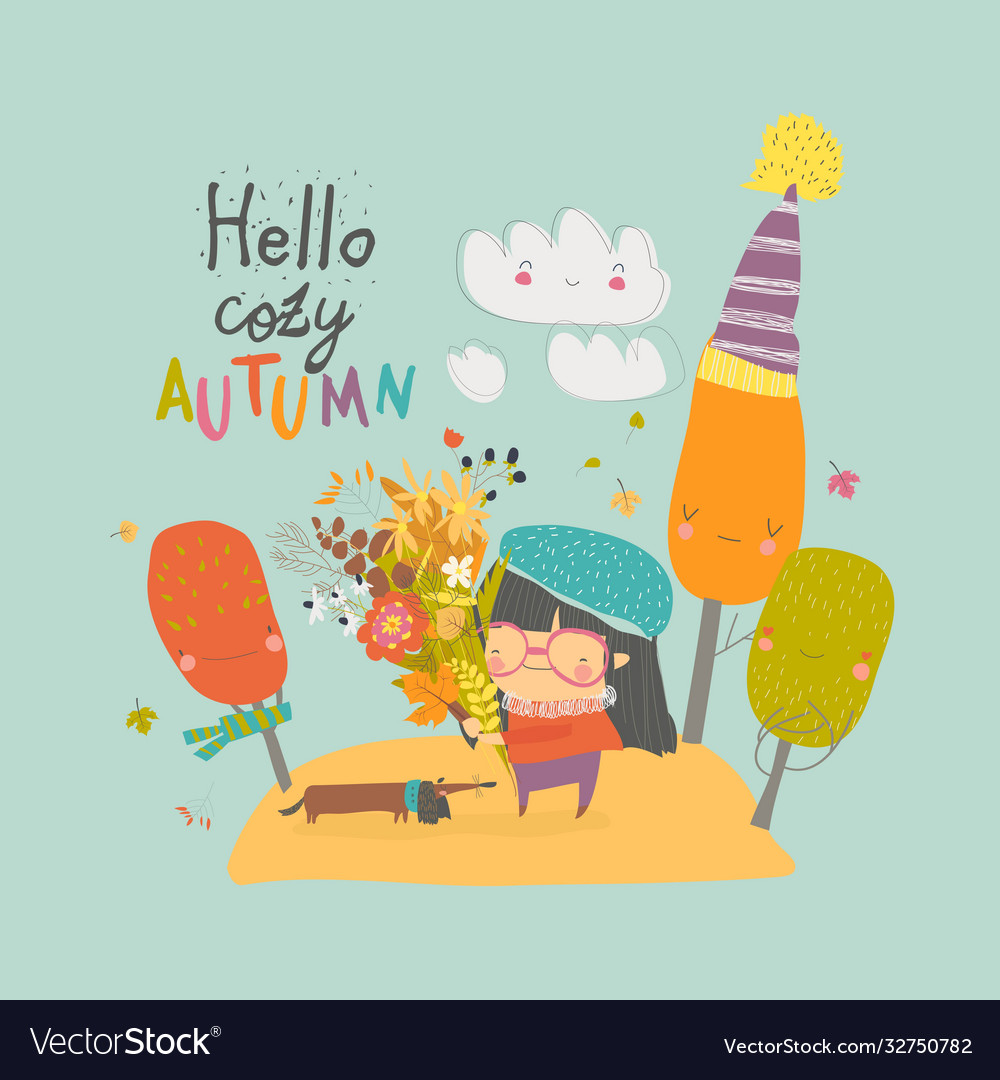 Happy cute girl holding autumn bouquet hello