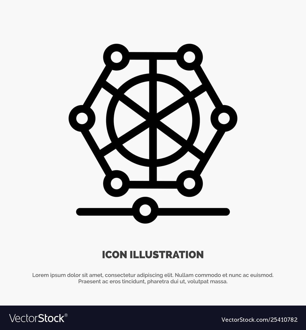 Machine Learning Language Data Line Icon