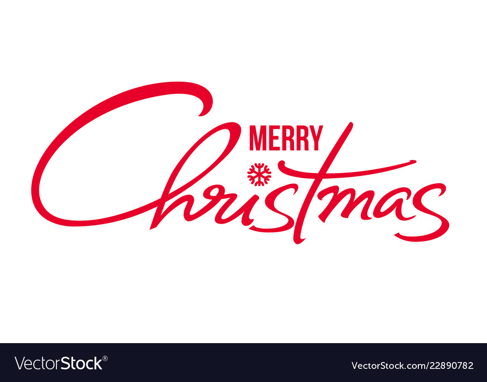 Merry christmas text calligraphic hand drawn