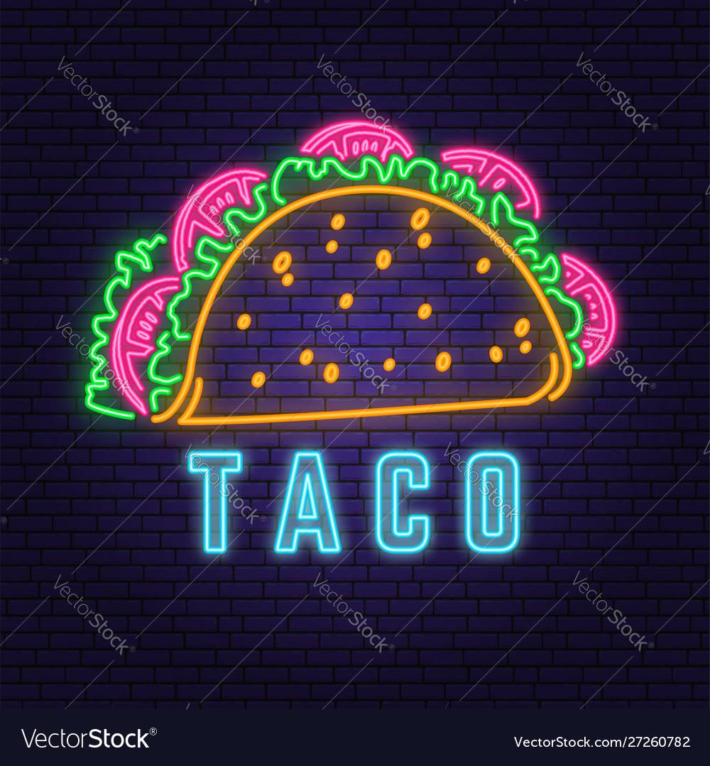 Neon mexican taco retro badge design design