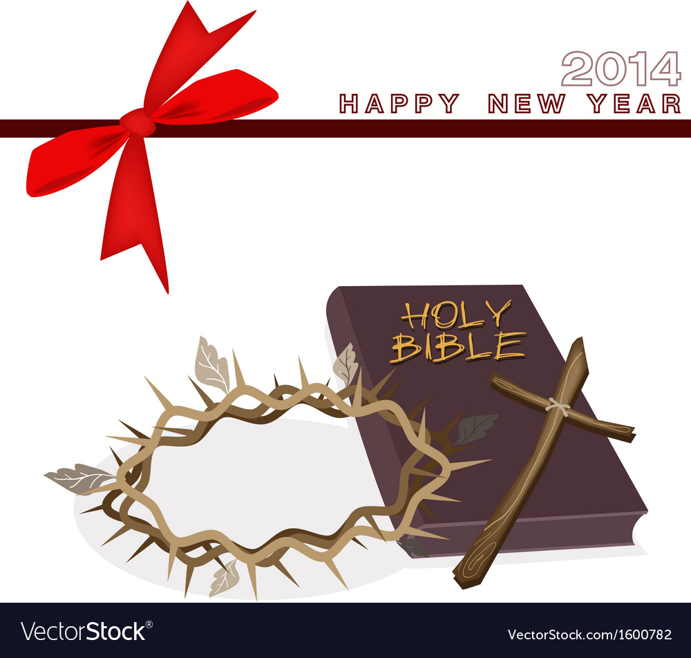 New Year Gift Card with Bible and Crown of Thorn