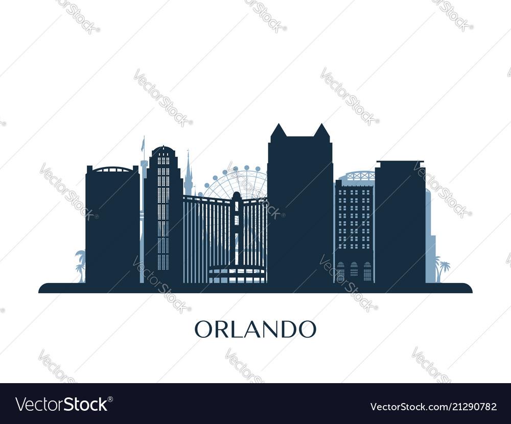 Orlando skyline monochrome silhouette