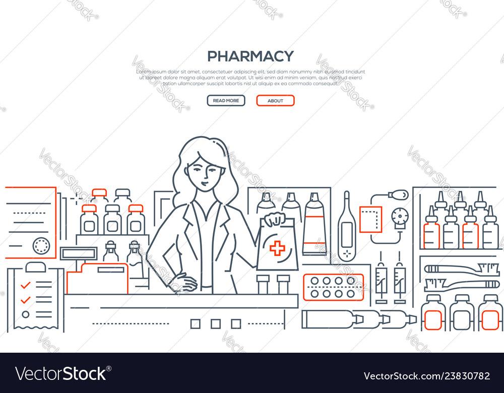 Pharmacy - modern line design style web banner