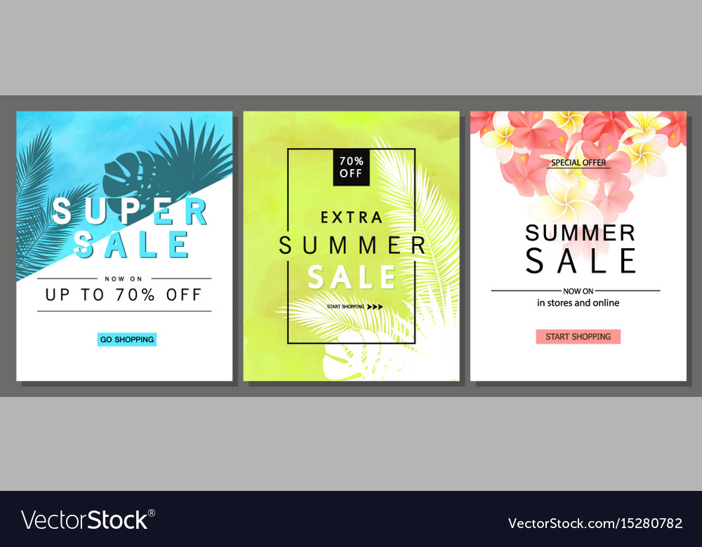 Set of summer sale banner templates with tropical vector image