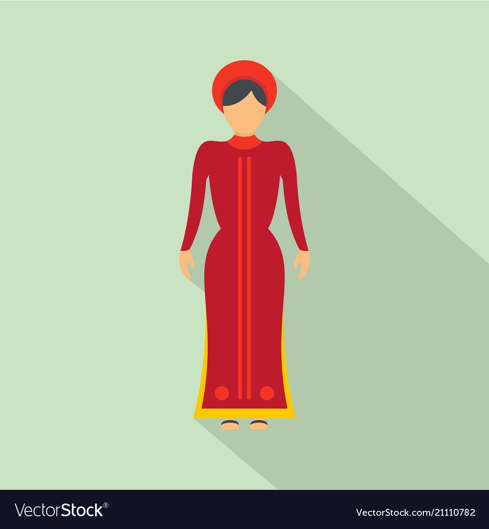 Vietnam woman icon flat style
