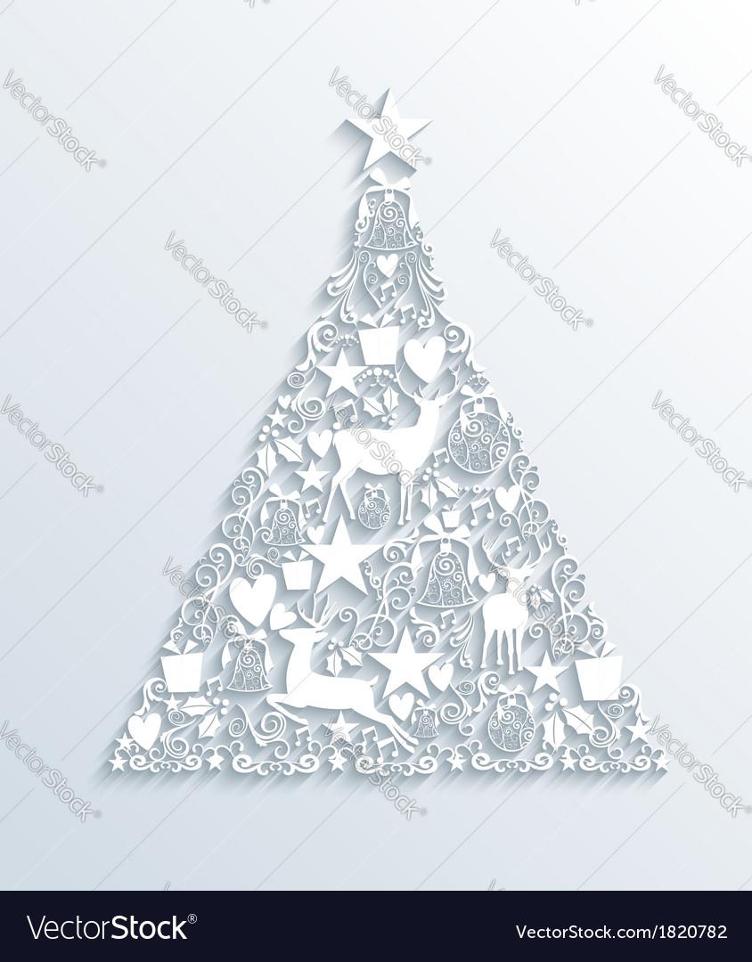 Contemporary Christmas Tree.White Merry Christmas Contemporary Tree Greeting