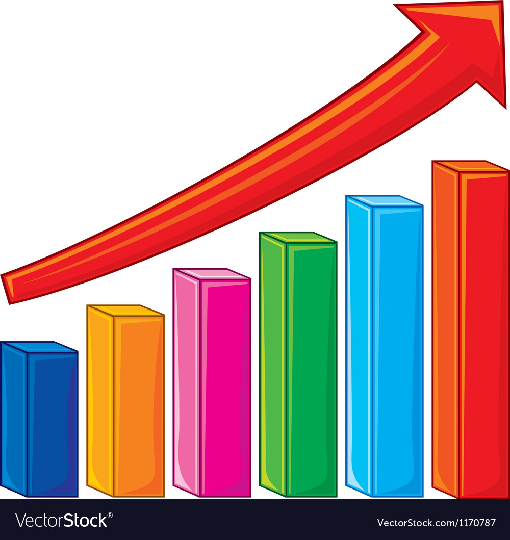bar graph-increase diagram royalty free vector image