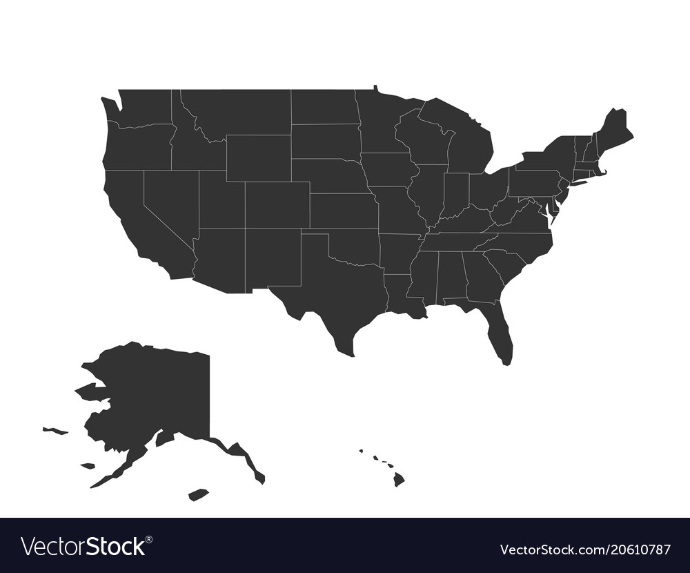 blank map of united states of america usa vector image