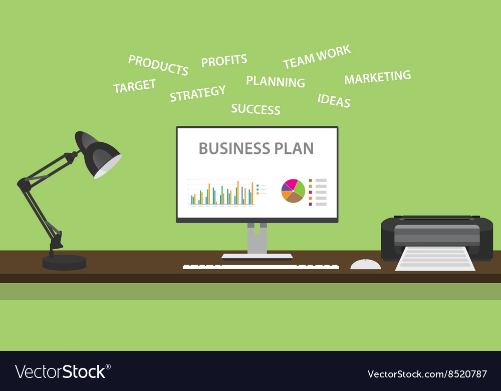 business plan with graph and some domain related vector image