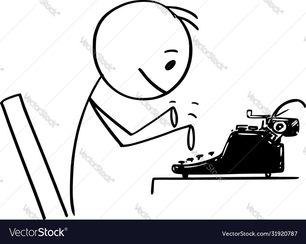 Cartoon man author journalist or novelist