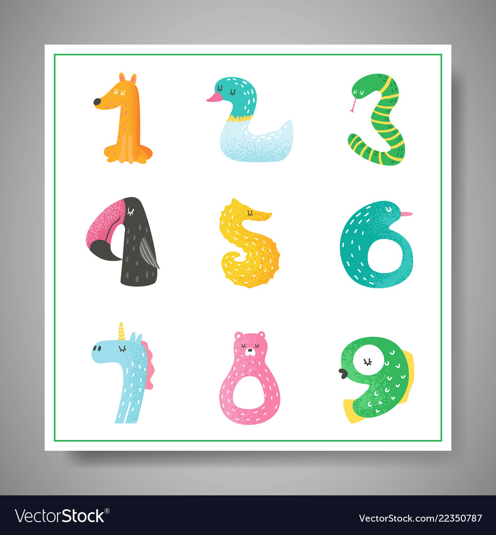 Cute animal numbers from 1 to 9 baby invitation