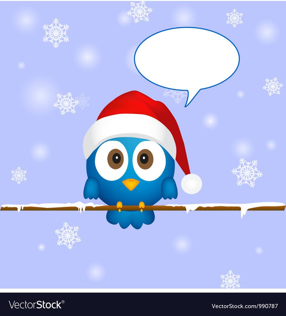 Cute blue christmas bird