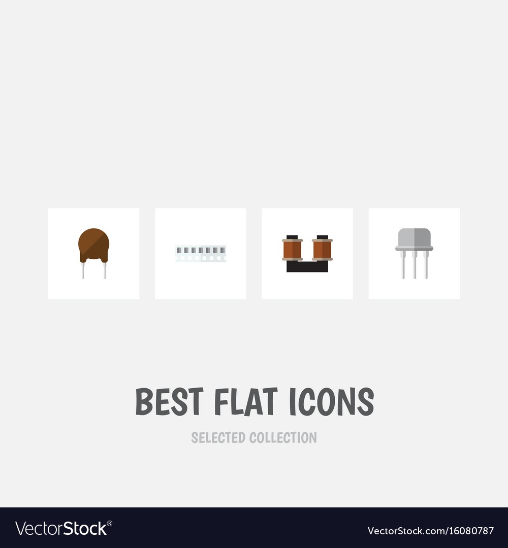Flat icon device set of memory triode resist and vector image