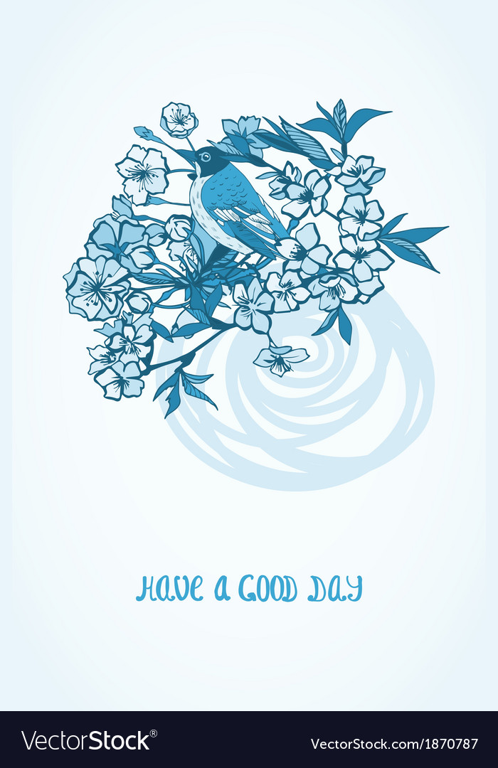 Good day wishing card with flowers and bird vector image