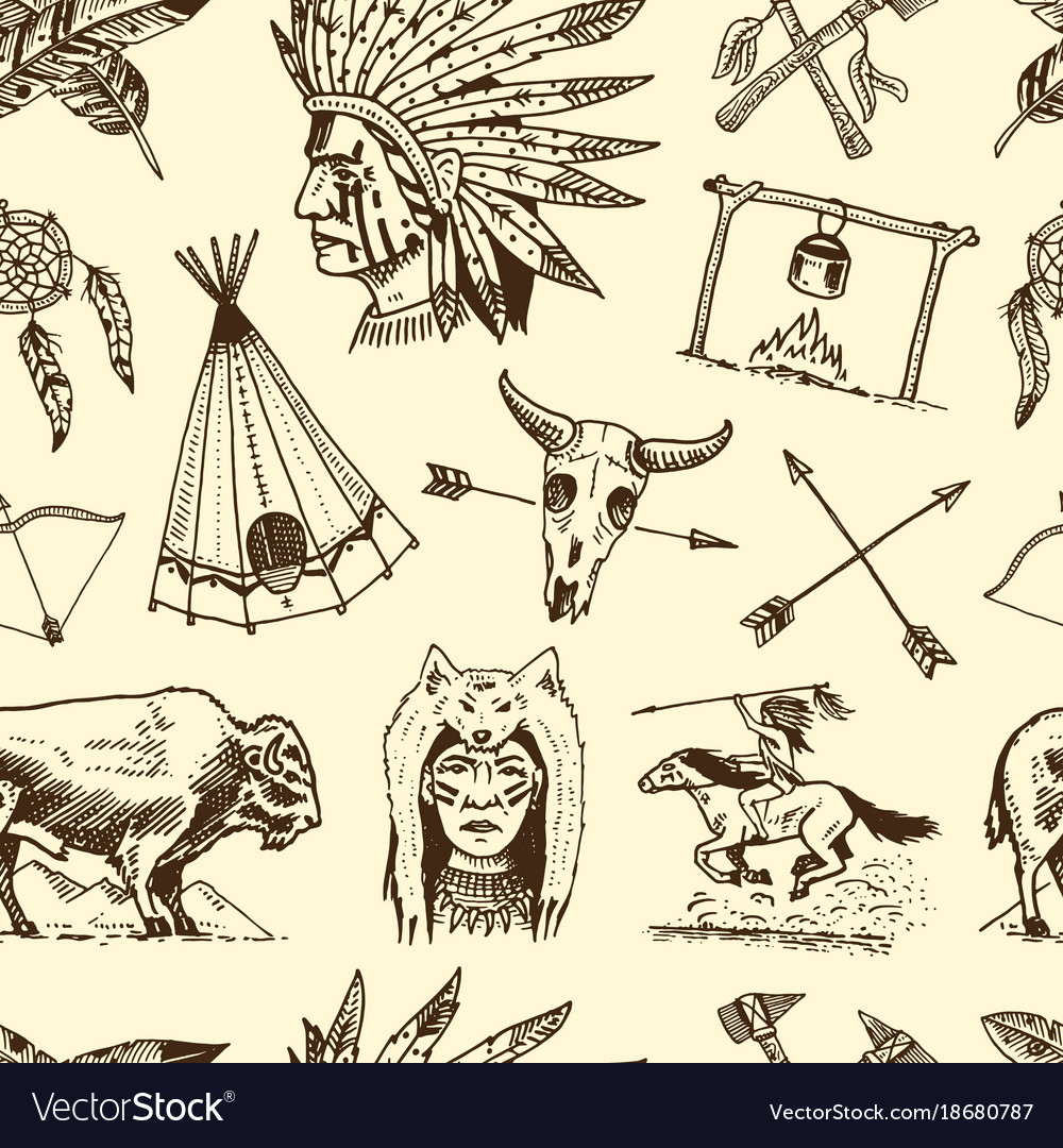 Indian or native american seamless pattern