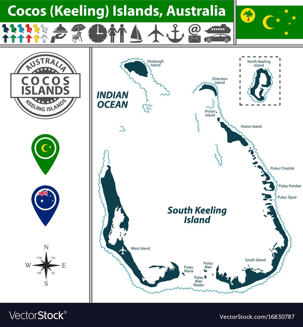 Map Of Australia Islands.Map Of Cocos Islands Australia Royalty Free Vector Image
