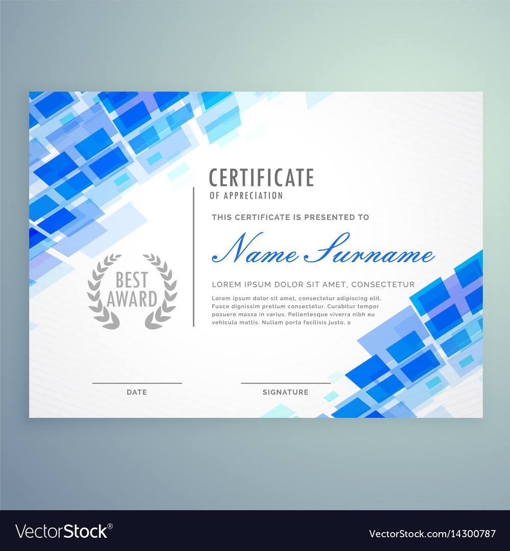 Modern Certificate Template With Blue Mosiac Vector Image