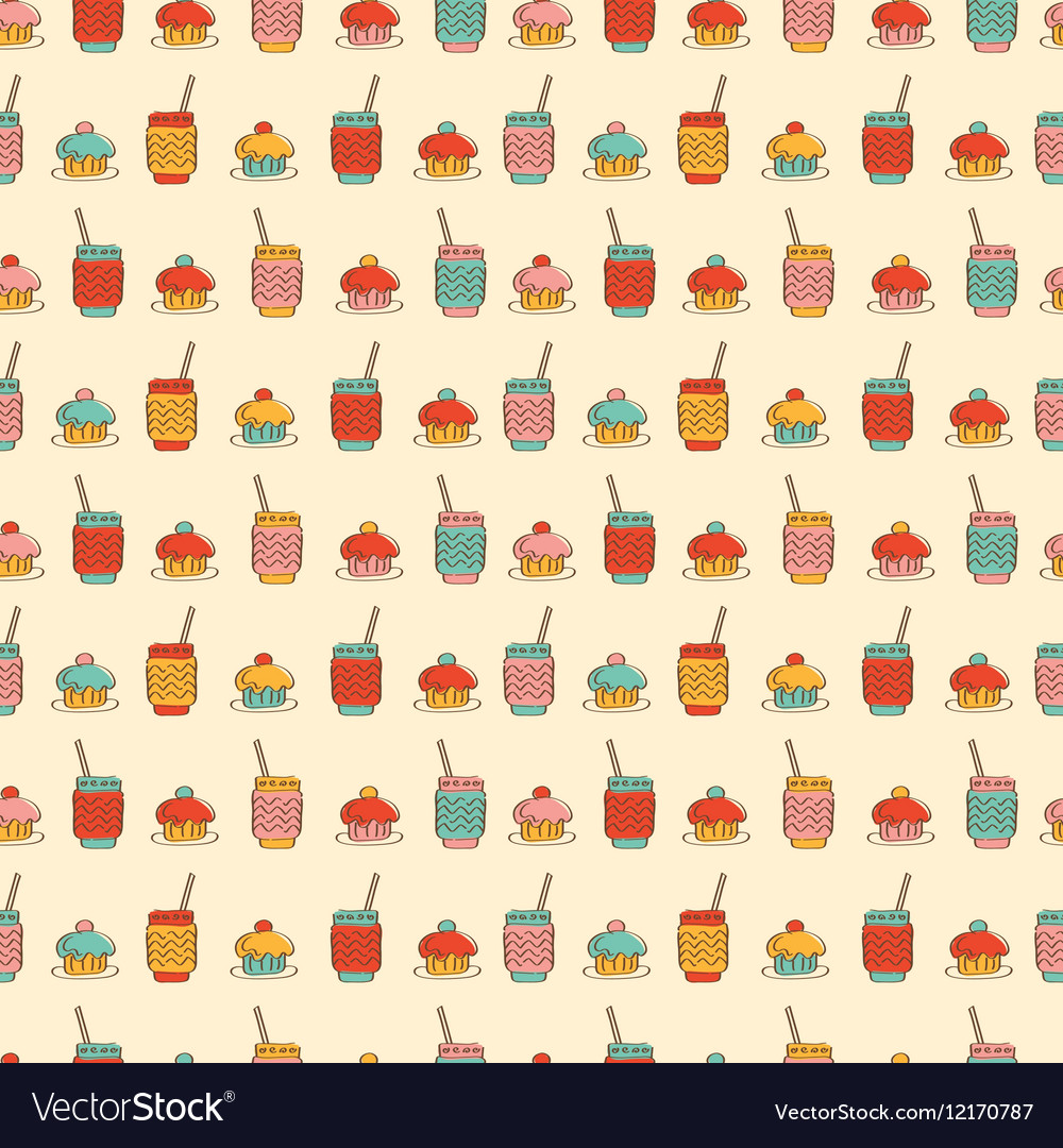 Seamless pattern with cupcake coffee or tea icons