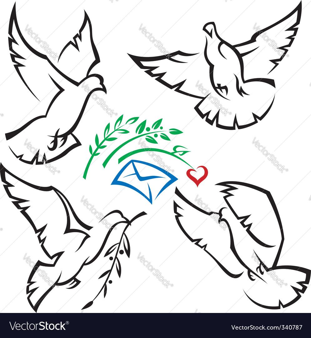 Set of pigeons vector image