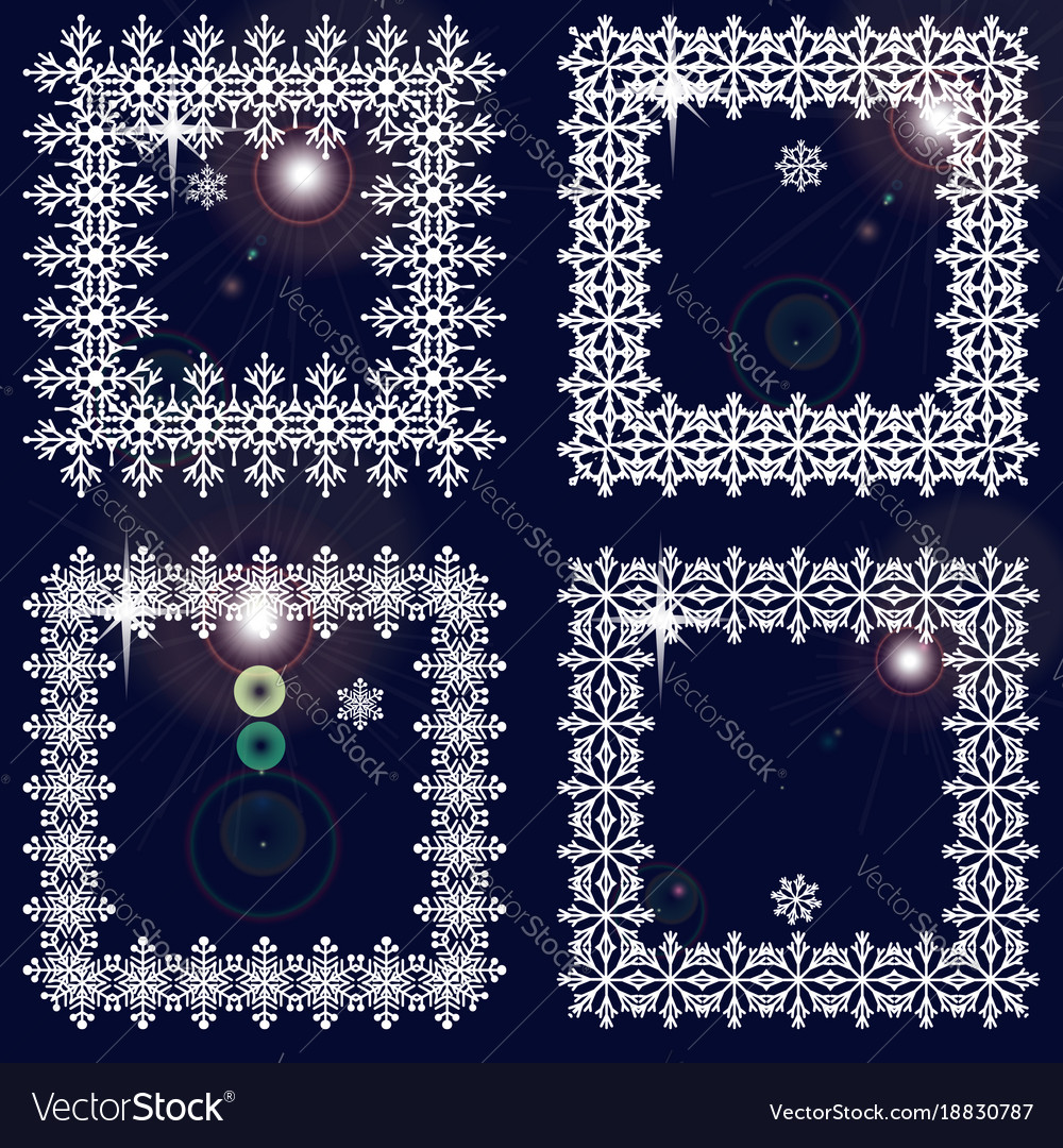 Set of winter frames from snowflakes white cadres Vector Image
