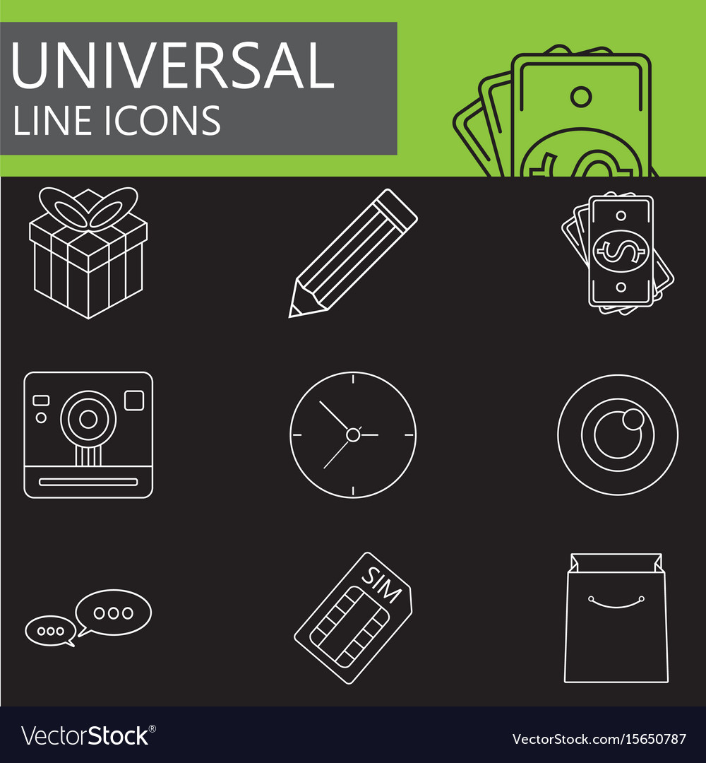 Universal line icons set web outline sign