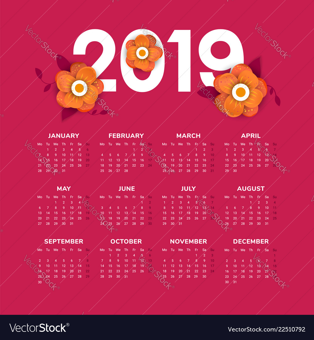 2019 new year calendar with flowers