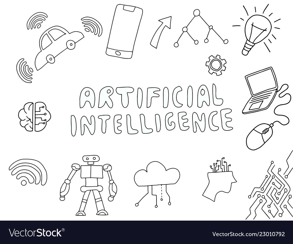 Ai artificial intelligence doodle with technology